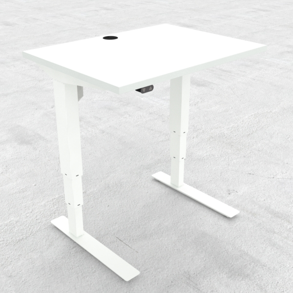 Electric Adjustable Desk | 80x60 cm | White with white frame